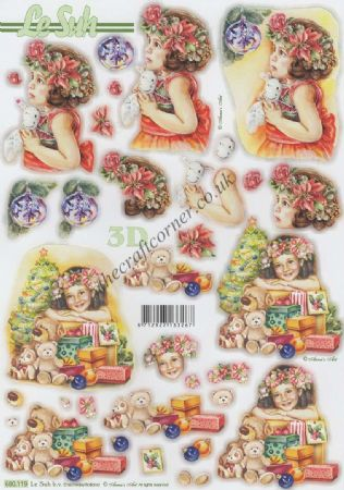 Christmas Girl With Toys Die Cut 3d Decoupage Sheet
